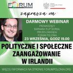 """Webinarium """"Zaangażowanie społecze i polityczne w Irlandii"""" już 23 września o godzinie 19:00"""
