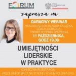 """Webinar """"Umiejętności liderskie w praktyce"""", 11 października, godz 19:00"""